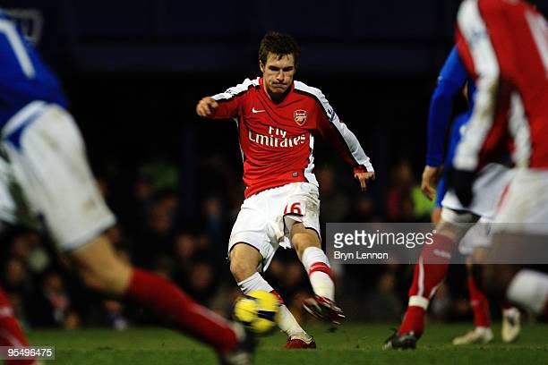 Aaron Ramsey of Arsenal scores their third goal during the Barclays Premier League match between Portsmouth and Arsenal at Fratton Park on December...