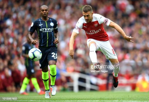 Aaron Ramsey of Arsenal shoots during the Premier League match between Arsenal FC and Manchester City at Emirates Stadium on August 12 2018 in London...