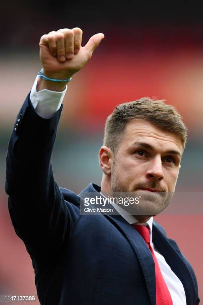 Aaron Ramsey of Arsenal shows emotion as he says farewell to the club following the Premier League match between Arsenal FC and Brighton Hove Albion...