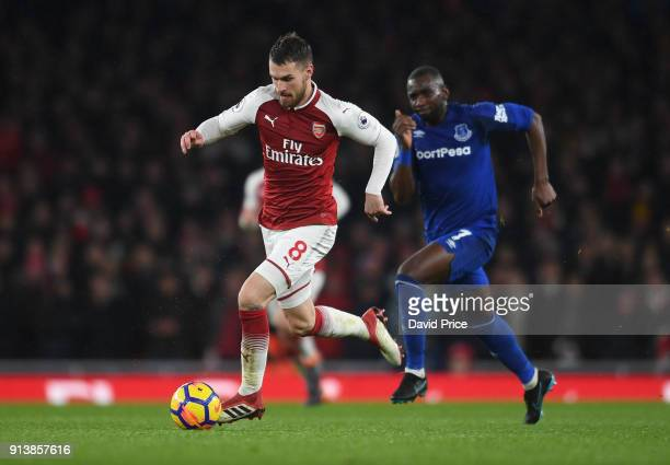 Aaron Ramsey of Arsenal takes on Eliaquim Mangala of Everton during the match the Premier League match between Arsenal and Everton at Emirates...