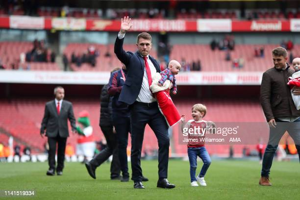 Aaron Ramsey of Arsenal waves goodbye to the Arsenal fans after the Premier League match between Arsenal FC and Brighton Hove Albion at Emirates...