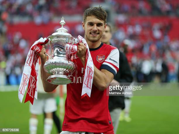 Aaron Ramsey of Arsenal with The FA Cup Trophy
