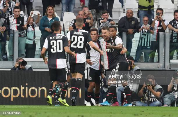 Aaron Ramsey of Juventus celebrates after his goal of 11 with teammates Paulo Dybala Danilo Rodrigo Bentancur and Merih Demiral during the Serie A...