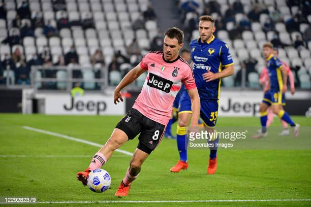 Aaron Ramsey of Juventus during the Italian Serie A match between Juventus v Hellas Verona at the Allianz Stadium on October 25 2020 in Turin Italy