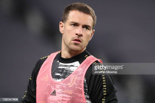 Aaron Ramsey of Juventus during the warm up prior to the Serie A match between Juventus and Hellas Verona FC at Allianz Stadium on October 25 2020 in...