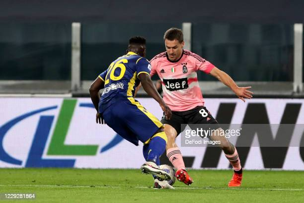 Aaron Ramsey of Juventus FC controls the ball during the Serie A match between Juventus and Hellas Verona FC at Allianz Stadium on October 25 2020 in...