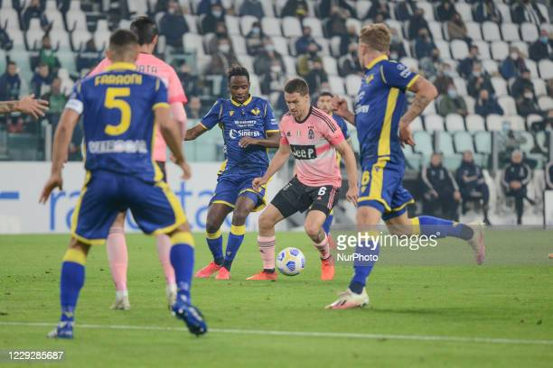 Aaron Ramsey of Juventus FC during the Serie A football match between Juventus FC and Hellas Verona at Allianz Stadium on october 25 2020 in Turin...