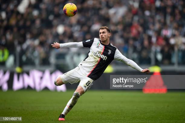 Aaron Ramsey of Juventus FC in action during the Serie A football match between Juventus FC and Brescia Calcio. Juventus FC won 2-0 over Brescia...