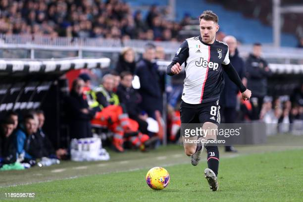 Aaron Ramsey of Juventus FC in action during the Serie A match between Uc Sampdoria and Juventus Fc. Juventus Fc wins 2-1 over Uc Sampdoria.