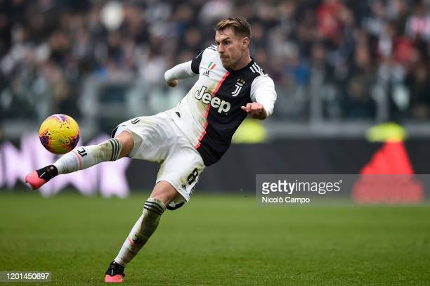 Aaron Ramsey of Juventus FC kicks the ball during the Serie A football match between Juventus FC and Brescia Calcio. Juventus FC won 2-0 over Brescia...