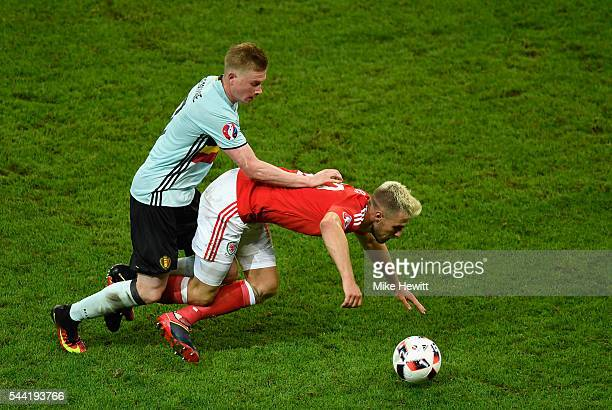 Aaron Ramsey of Wales battles with Kevin De Bruyne of Belgium during the UEFA EURO 2016 quarter final match between Wales and Belgium at Stade...