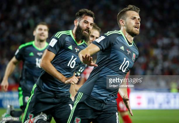 Aaron Ramsey of Wales celebrate scoring the goal with the Joe Ladley during the FIFA 2018 World Cup Qualifier between Serbia and Wales at stadium...