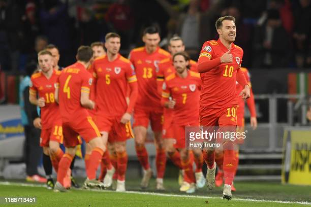 Aaron Ramsey of Wales celebrates after he scores his sides first goal during the UEFA Euro 2020 qualifier between Wales and Hungary so at Cardiff...