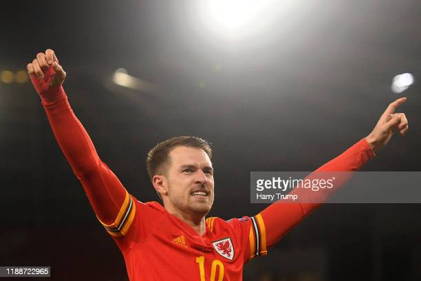 Aaron Ramsey of Wales celebrates after he scores his sides second goal during the UEFA Euro 2020 qualifier between Wales and Hungary so at Cardiff...