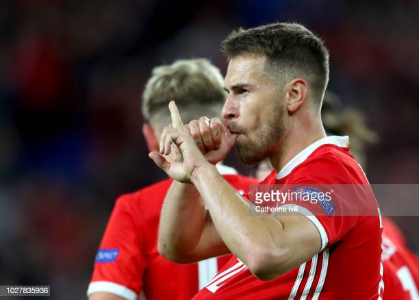 Aaron Ramsey of Wales celebrates after scoring his team's third goal during the UEFA Nations League B group four match between Wales and Republic of...