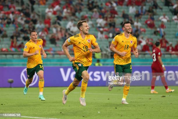 Aaron Ramsey of Wales celebrates after scoring their side's first goal during the UEFA Euro 2020 Championship Group A match between Turkey and Wales...