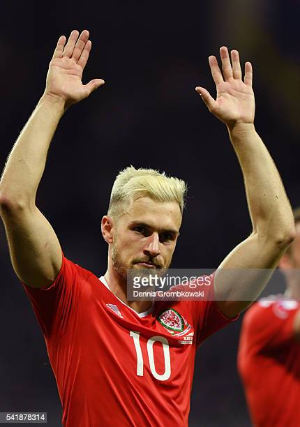 Aaron Ramsey of Wales celebrates his team's 30 win in the UEFA EURO 2016 Group B match between Russia and Wales at Stadium Municipal on June 20 2016...