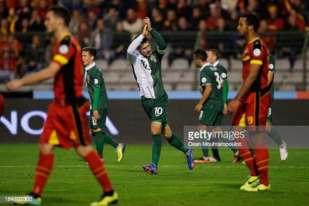 Aaron Ramsey of Wales celebrates scoring a goal during the FIFA 2014 World Cup Qualifying Group A match between Belgium and Wales at King Baudouin...