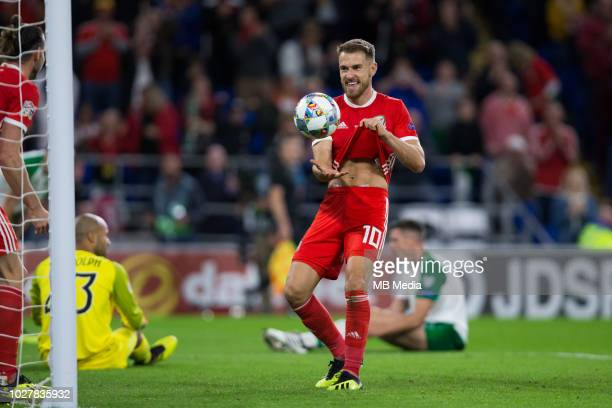 Aaron Ramsey of Wales celebrates scoring his side's third goal during the UEFA Nations League B group four match between Wales and Ireland at Cardiff...
