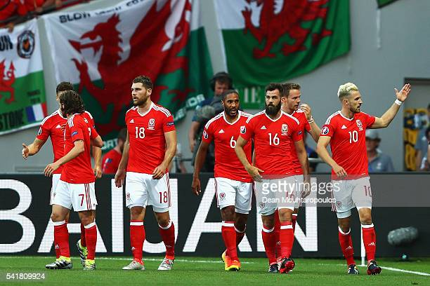 Aaron Ramsey of Wales celebrates scoring his team's first goal with his team mates during the UEFA EURO 2016 Group B match between Russia and Wales...