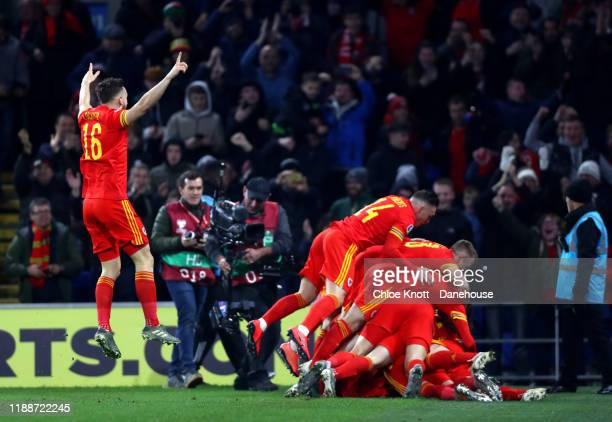 Aaron Ramsey of Wales celebrates scoring his teams second goal during the UEFA Euro 2020 qualifier between Wales and Hungary so at Cardiff City...