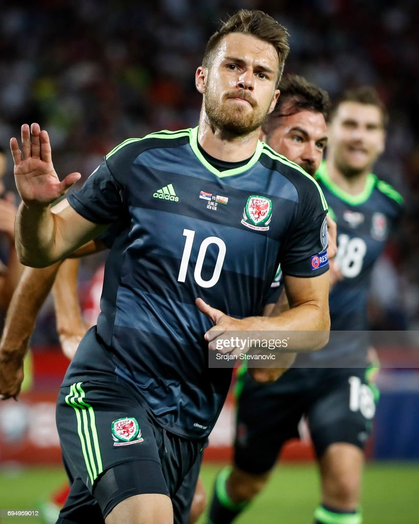 Aaron Ramsey of Wales celebrates scoring the goal during the FIFA 2018 World Cup Qualifier between Serbia and Wales at stadium Rajko Mitic on June 11, 2017 in Belgrade, Serbia.