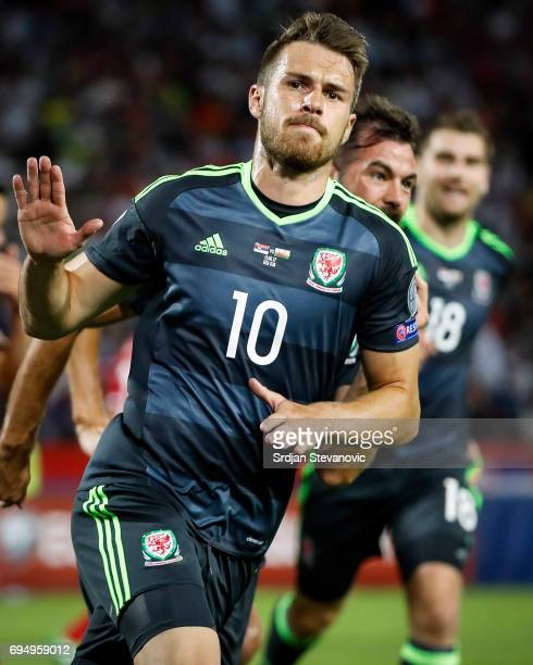 Aaron Ramsey of Wales celebrates scoring the goal during the FIFA 2018 World Cup Qualifier between Serbia and Wales at stadium Rajko Mitic on June 11...