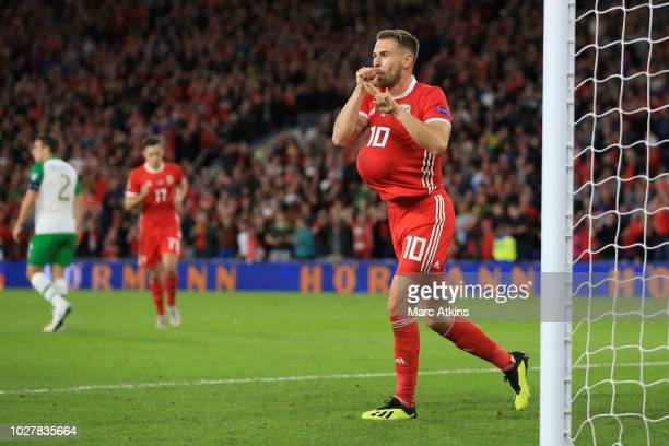 Aaron Ramsey of Wales celebrates scoring their 3rd goal during the UEFA Nations League B group four match between Wales and Ireland at Cardiff City...
