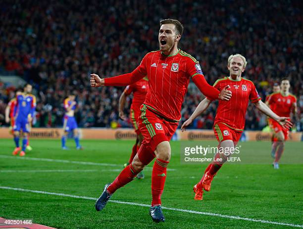 Aaron Ramsey of Wales celebrates scoring their first goal during the UEFA EURO 2016 Qualifying Group B match between Wales and Andorra at Cardiff...