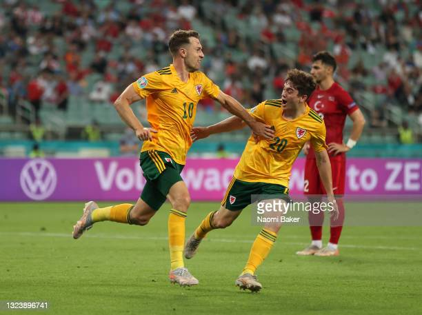 Aaron Ramsey of Wales celebrates with Daniel James after scoring their side's first goal during the UEFA Euro 2020 Championship Group A match between...