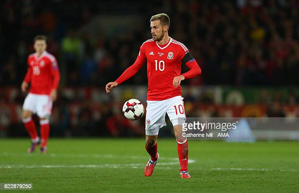 Aaron Ramsey of Wales during the FIFA 2018 World Cup Qualifier between Wales and Serbia at Cardiff City Stadium on November 12 2016 in Cardiff Wales