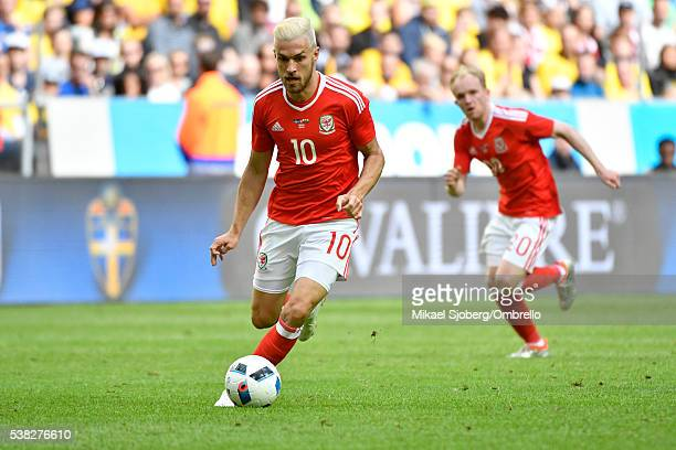 Aaron Ramsey of Wales during the international friendly between Sweden and Wales at Friends Arena on June 5 2016 in Solna Sweden