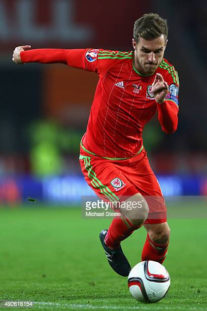 Aaron Ramsey of Wales during the UEFA EURO 2016 Group B Qualifier match at the Cardiff City Stadium on October 13 2015 in Cardiff United Kingdom