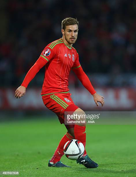 Aaron Ramsey of Wales during the UEFA EURO 2016 Qualifier match between Wales and Andorra at Cardiff City Stadium on October 13 2015 in Cardiff...