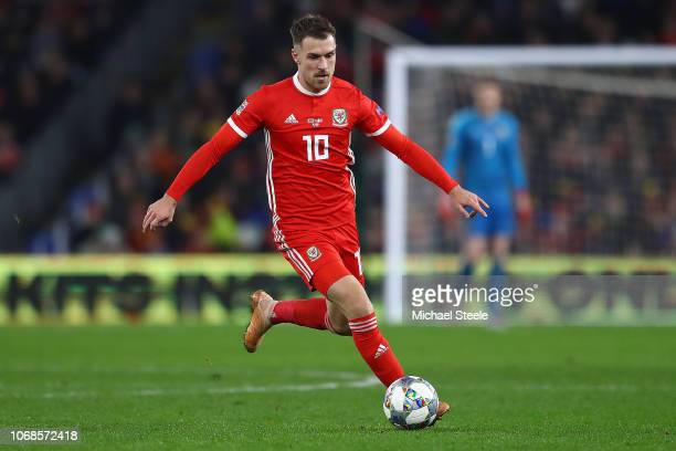 Aaron Ramsey of Wales during the UEFA Nations League B group four match between Wales and Denmark at Cardiff City Stadium on November 16, 2018 in...