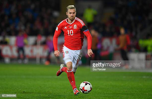 Aaron Ramsey of Wales in action during the FIFA 2018 World Cup Qualifier between Wales and Serbia at Cardiff City Stadium on November 12 2016 in...