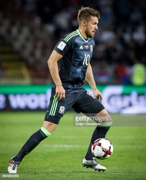 Aaron Ramsey of Wales in action during the FIFA 2018 World Cup Qualifier between Serbia and Wales at stadium Rajko Mitic on June 11 2017 in Belgrade...