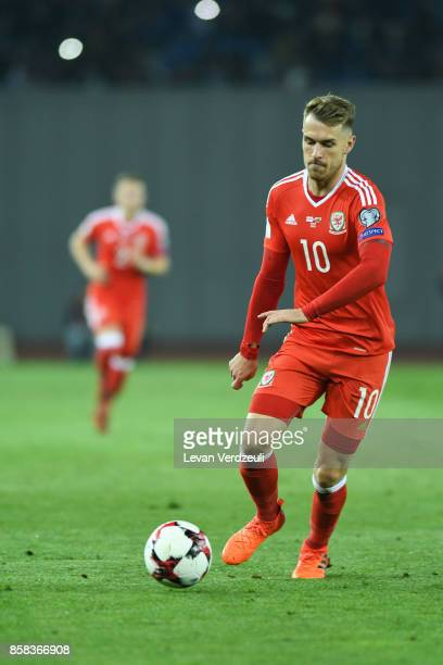 Aaron Ramsey of Wales in action during the FIFA 2018 World Cup Qualifier between Georgia and Wales at Boris Paichadze Dinamo Arena Tbilisi Georgia on...