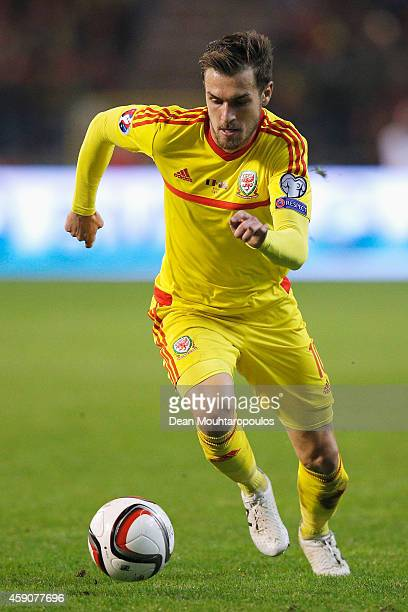 Aaron Ramsey of Wales in action during the Group B UEFA European Championship 2016 Qualifier match bewteen Belgium and Wales at King Baudouin Stadium...