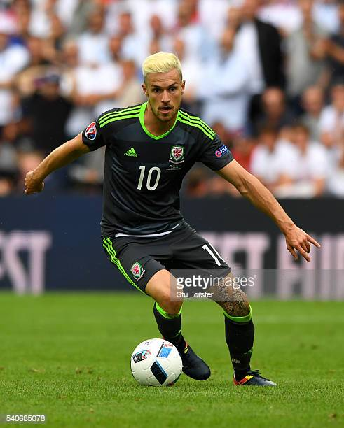 Aaron Ramsey of Wales in action during the UEFA Euro 2016 Group B match between England and Wales at Stade BollaertDelelis on June 16 2016 in Lens...