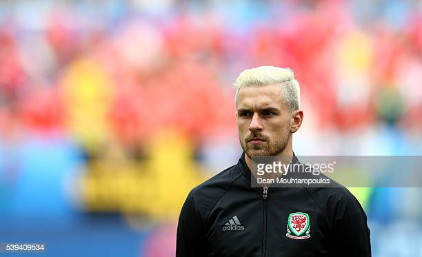 Aaron Ramsey of Wales is seen prior to the UEFA EURO 2016 Group B match between Wales and Slovakia at Stade Matmut Atlantique on June 11 2016 in...