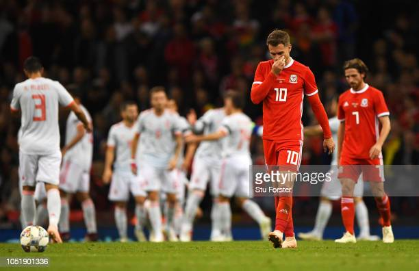 Aaron Ramsey of Wales looks dejected during the International Friendly match between Wales and Spain on October 11 2018 in Cardiff United Kingdom