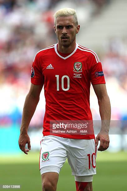 Aaron Ramsey of Wales looks on during the UEFA EURO 2016 Group B match between Wales and Slovakia at Stade Matmut Atlantique on June 11 2016 in...