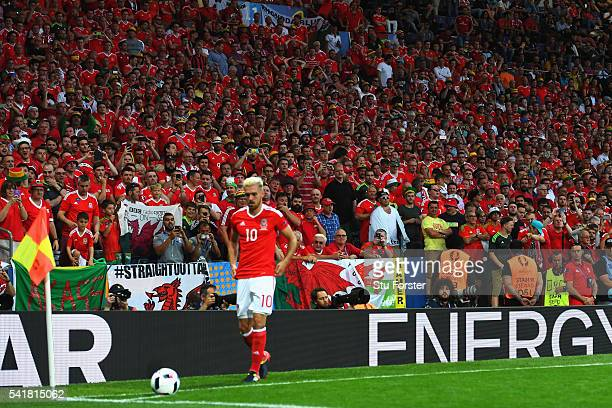 Aaron Ramsey of Wales prepares for a corner kick during the UEFA EURO 2016 Group B match between Russia and Wales at Stadium Municipal on June 20...
