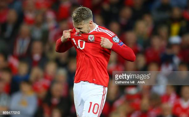 Aaron Ramsey of Wales reacts after missing a chance during the FIFA 2018 World Cup Qualifier between Wales and Republic of Ireland at Cardiff City...
