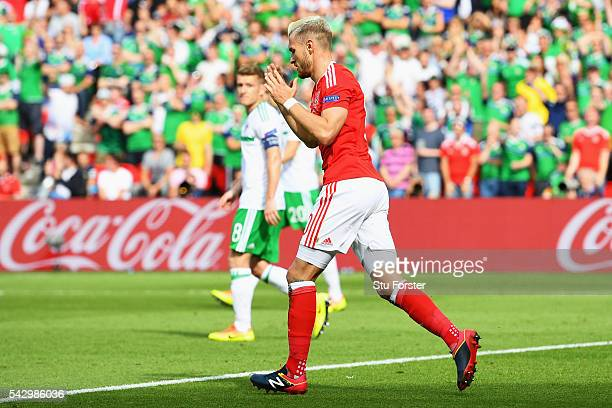 Aaron Ramsey of Wales reacts after the disallowed goal during the UEFA EURO 2016 round of 16 match between Wales and Northern Ireland at Parc des...