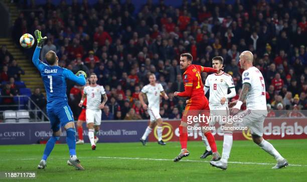 Aaron Ramsey of Wales scores his teams first goal during the UEFA Euro 2020 qualifier between Wales and Hungary so at Cardiff City Stadium on...