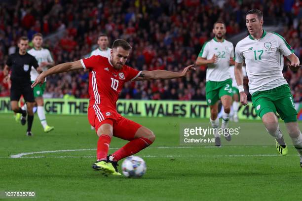 Aaron Ramsey of Wales scores his team's third goal during the UEFA Nations League B group four match between Wales and Republic of Ireland at Cardiff...