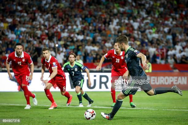Aaron Ramsey of Wales scores the goal from penalty kick during the FIFA 2018 World Cup Qualifier between Serbia and Wales at stadium Rajko Mitic on...