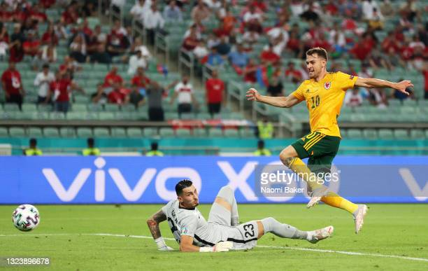 Aaron Ramsey of Wales scores their side's first goal past Ugurcan Cakir of Turkey during the UEFA Euro 2020 Championship Group A match between Turkey...